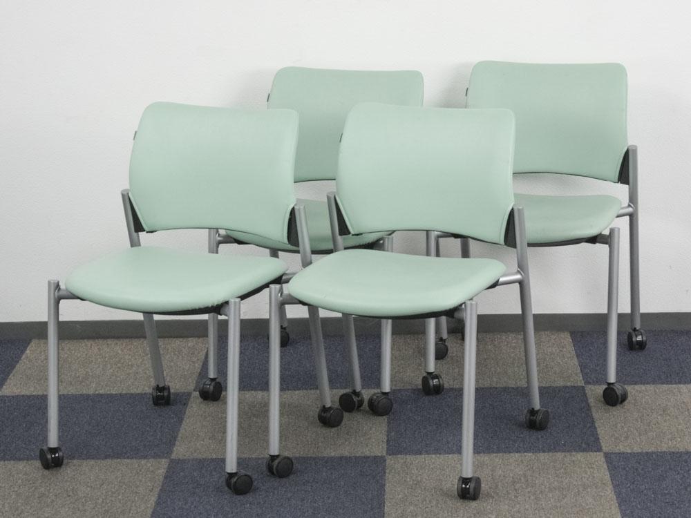 ミーティングチェア 4脚セット 会議イス スタッキングチェア キャスター付き 会議用チェア 中古チェア  オカムラ製:8147シリーズ 8147AZ 中古 セット オフィス家具