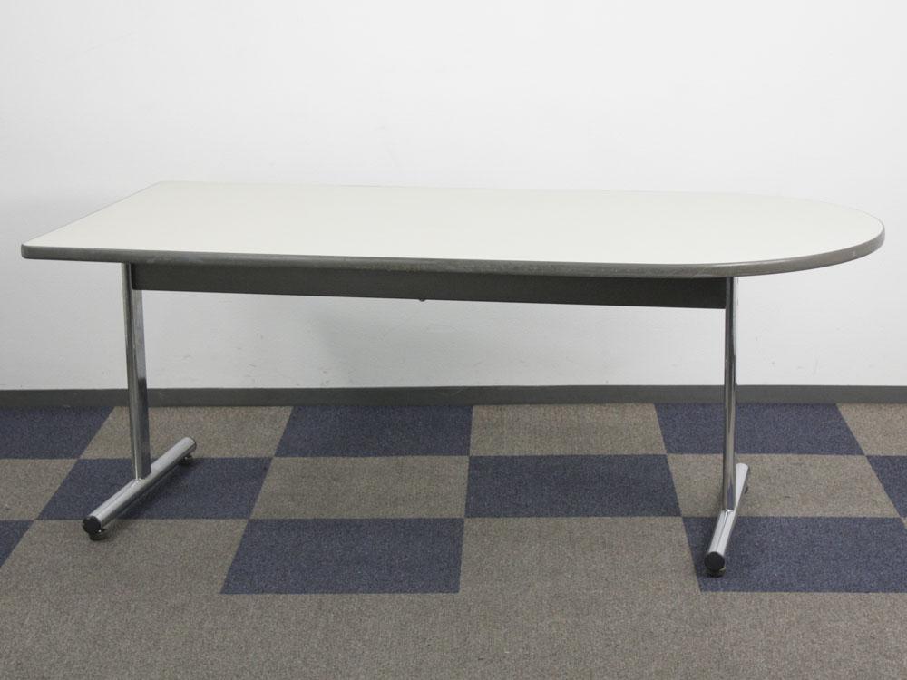 ミーティングテーブル 片側ラウンドテーブル U型テーブル 会議テーブル 中古テーブル ワークテーブル テーブル ナイキ製 W1800xD900xH700 中古 セット オフィス家具
