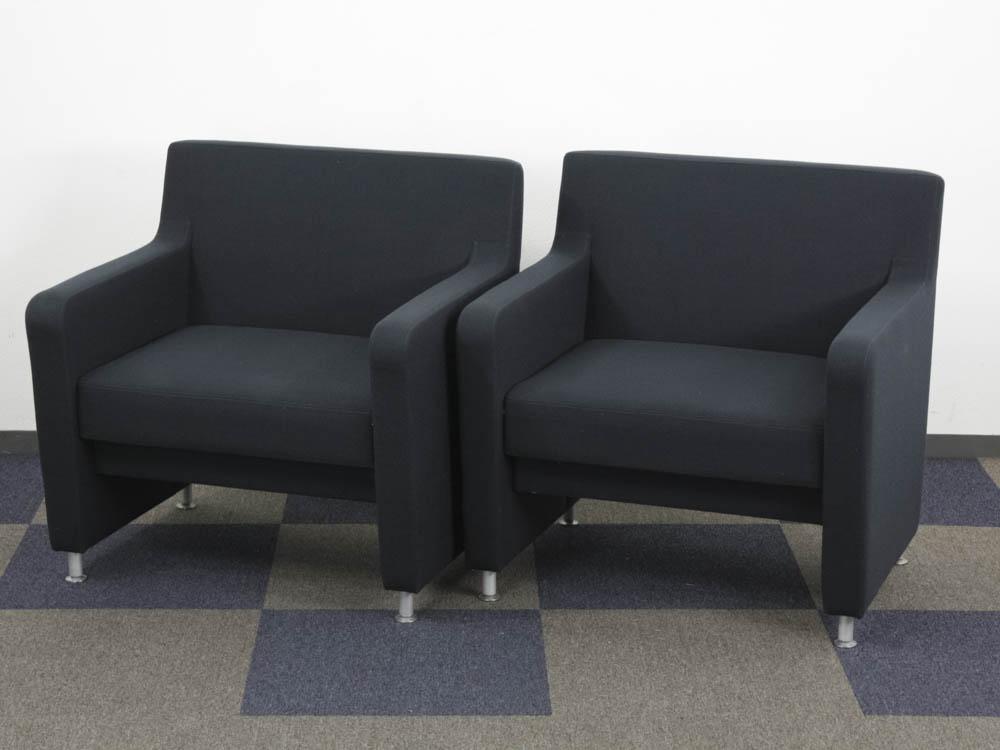 ロビーチェア 2台セット 応接ソファー 1人掛け 2人分 ソファー 布張り アームチェア 小椅子 中古ソファー ウチダ製:UL-200シリーズ UL-202 中古 オフィス家具