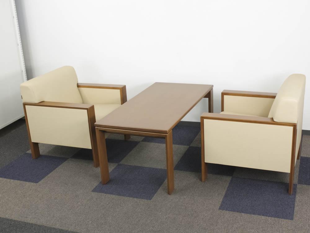 応接セット 1人掛けソファー テーブル 3点セット ロビーチェア お手入れが簡単な合成皮革張り 中古応接セット オカムラ製 8315BA 中古 オフィス家具