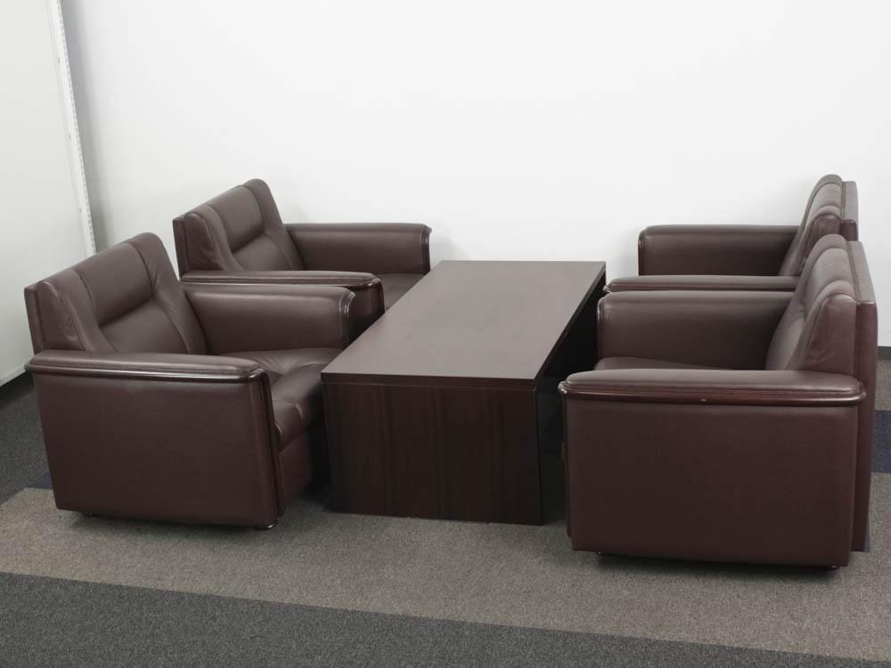 応接セット 1人掛けソファー テーブル 5点セット ロビーチェア お手入れが簡単な合成皮革張り 中古応接セット 中古 オフィス家具