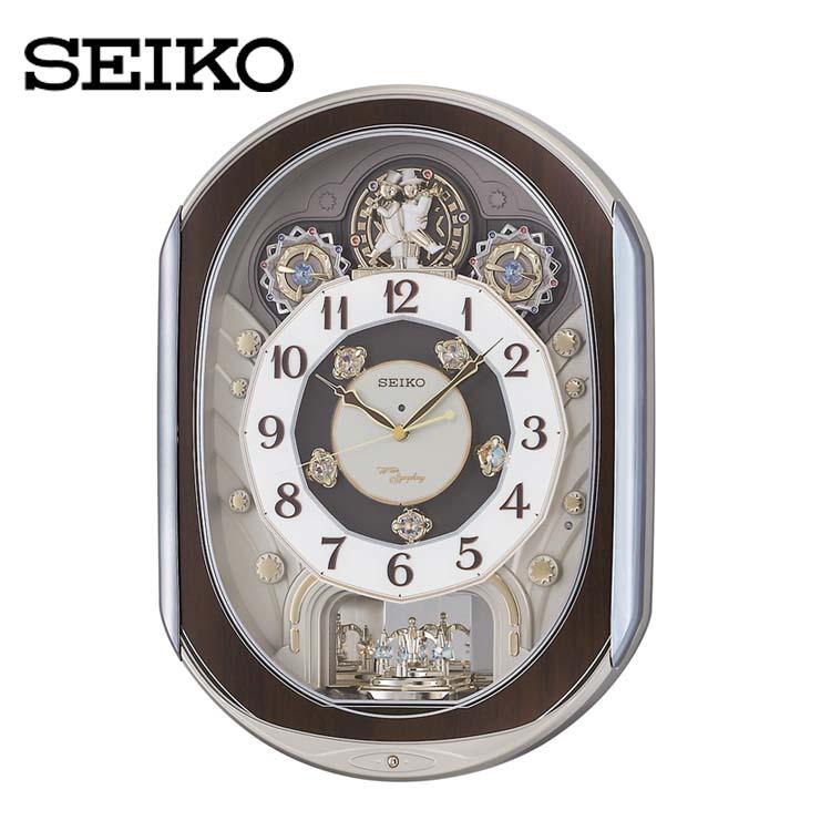 電波からくり時計 RE578B送料無料 SEIKO 掛け時計 壁掛け からくり時計 電波時計 アナログ スイープ メロディ 音量調節 セイコークロック 【TC】 新生活