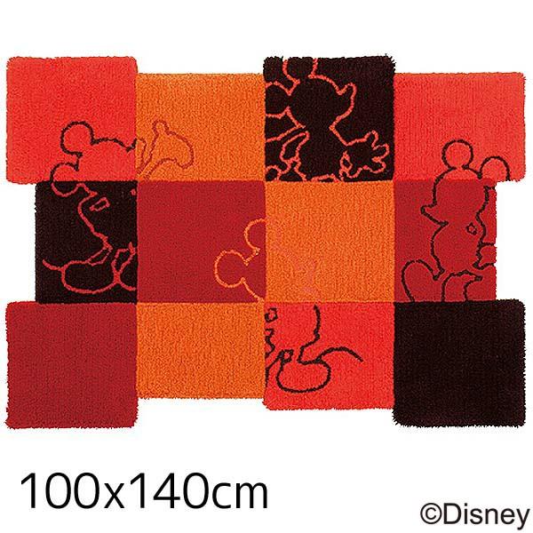 【送料無料】【TD】ミッキー パッチワークラグ DRM-4013 100×140cmレッド 敷物 絨毯 マット ディズニー キャラクター 【スミノエ】【取寄せ品】