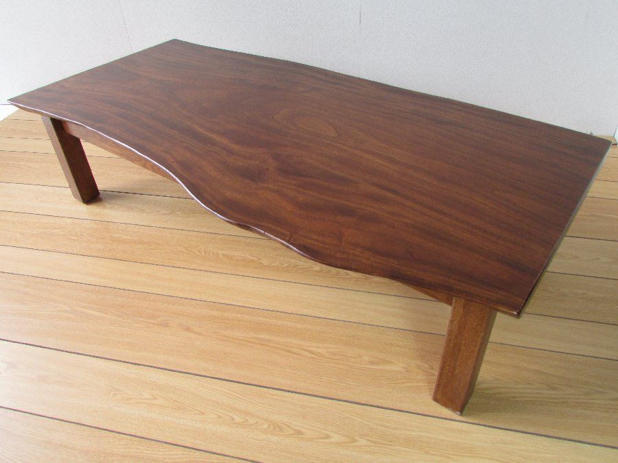 北海道手作り家具 クスノキ材 一枚板座卓1400B