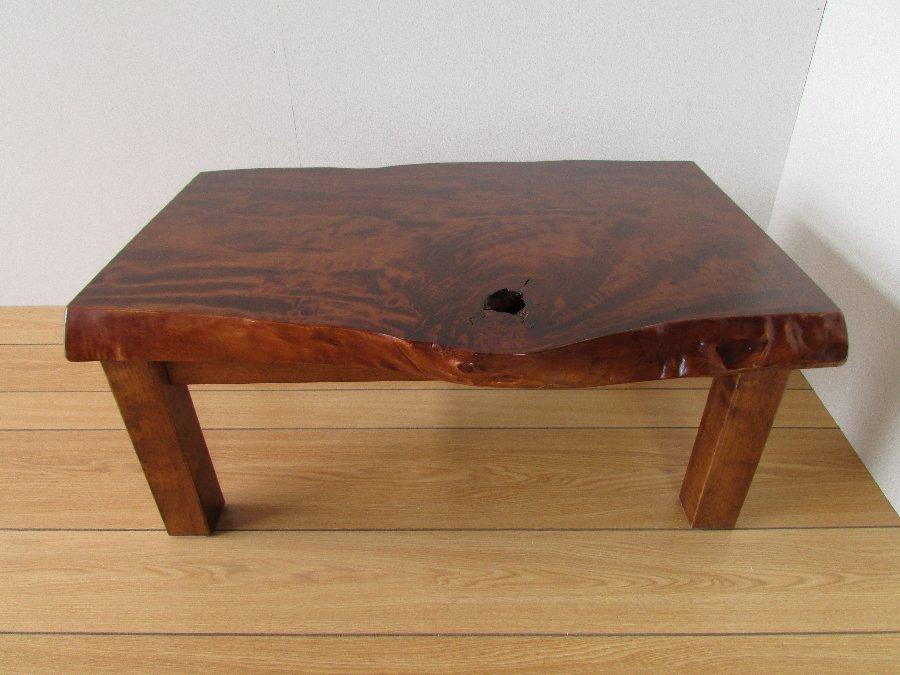 北海道手作り家具 トチ材 一枚板座卓800B