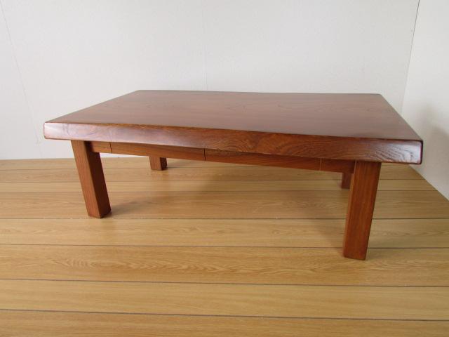 北海道手作り家具 ケヤキ材 一枚板の座卓1012(引出付)