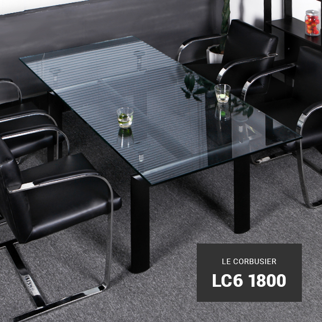LC6-1800 コルビジェ ガラス強化テーブル テーブル ガラステーブル ローテーブル デザイナーズ コルビジェ リプロダクト 新生活