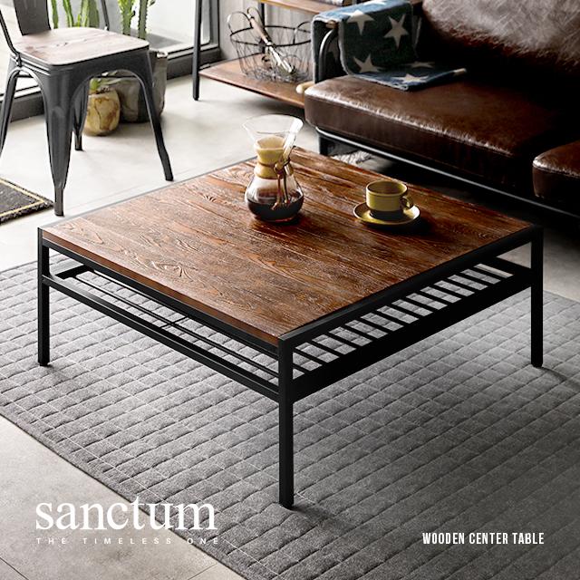 センターテーブル 正方形 80cm おしゃれ テーブル ローテーブル リビングテーブル コーヒーテーブル 木製テーブル ウッドテーブル 収納付き 無垢材 天然木 木目 北欧 ヴィンテージ アンティーク