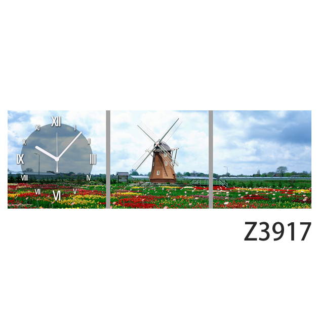 壁掛け時計 日本初!300種類以上のデザインから選ぶパネルクロック◆3枚のアートパネルの壁掛け時計◆hOur Design Z3917【風景】【自然】【代引不可】 送料無料