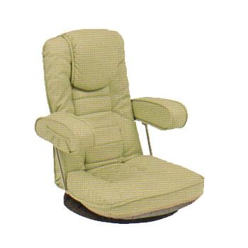 LZ-1081LGY 座椅子 回転 肘掛け 14段階リクライニング 座イス ザイス 座いす 回転式座椅子 パーソナルチェア チェアー 椅子 イス いす リラックスチェア 肘掛け 肘掛 こたつチェア 床生活 幅60cm 高さ 78cm イス・チェア 合成皮革