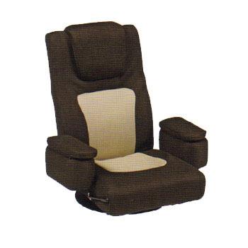 LZ-082BR 座椅子 回転式 ガス圧無段階レバー式リクライニング 座イス ザイス 座いす 回転式座椅子 パーソナルチェア チェアー 椅子 イス いす 機能充実 リラックスチェア 肘掛け 肘掛 リモコン収納ポケット 幅75cm イス・チェア 布地 送料無料