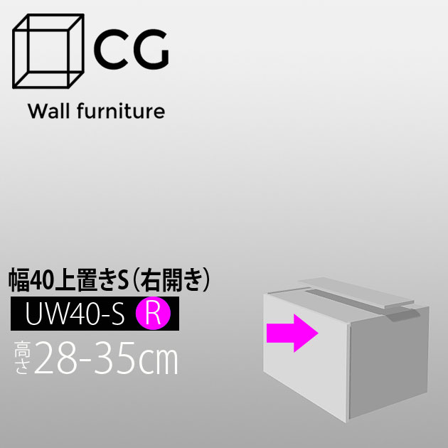 壁面収納家具CG 上置き-幅40 UW40-H28-35-R(右開き)【受注生産品】【代引不可】