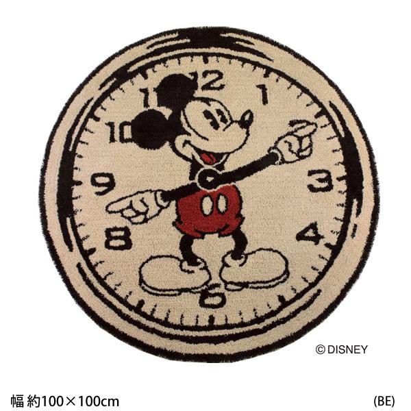 ミッキー オンザクロック!ラグ Disney Mickey On the Clock!RUG DRM-4000 円形ラグ 100×100cm(送料無料) (代引不可)日本製 防ダニ 耐熱加工 RUG ディズニープレミアムコレクション ラグマット カーペット大人のディズニーインテリア【Disneyzone】[新商品] 送料無料