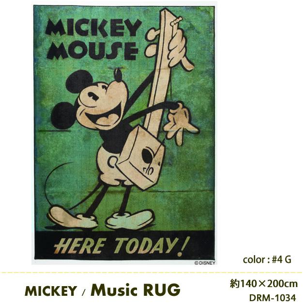 DISNEY ミッキー ミュージック ラグマット 日本製 防ダニ 耐熱加工ディズニー マット Disney スミノエ ラグマット ディズニープレミアムコレクション ラグマット 約140cm×200cm Disney MICKEY Music RUG DRM-1034[送料無料][代引不可] 送料無料