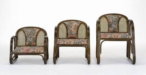クッションとラタン編みのコンビネーションがポイント! 楽々便利座椅子ロータイプ イス・チェア 籐製