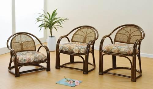 膝や腰が軽くても立ち座りがラク名座椅子 アームチェアーハイ1脚売 イス・チェア 籐製