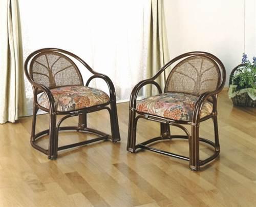 膝や腰が軽くても立ち座りがラク名座椅子 アームチェアーハイ2脚売 イス・チェア 籐製 送料無料