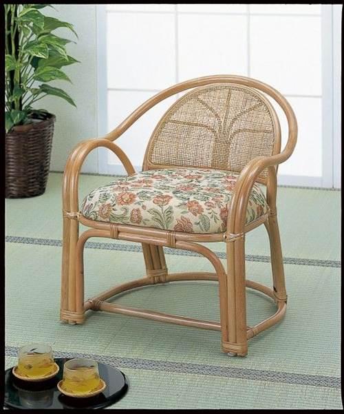 正座がつらい方ピッタリです。 アームチェアーハイ2脚組 イス・チェア 座椅子 籐製 送料無料
