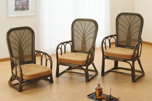 和室にも洋室にも似合う、ぬくもり感あるやさしい表情。 ハイパックアームチェアーミドルタイプ イス・チェア 座椅子 籐製 送料無料