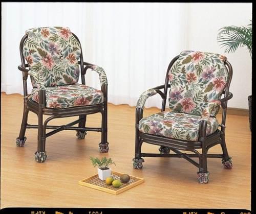 立ち座りが楽な座面高さです。 アームチェアーロータイプ イス・チェア 座椅子 籐製 送料無料