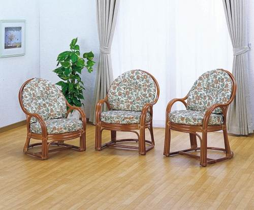 クッションには豪華で上品な高級ジャカード織生地を使用。 アームチェアーミドルタイプ イス・チェア 座椅子 籐製 送料無料