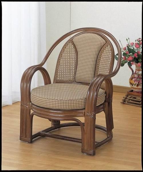背もたれ部はしっかりサポート。 アームチェアー イス・チェア 座椅子 籐製 送料無料