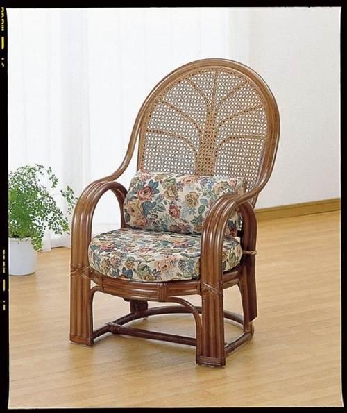 腰の負担を軽くするハイバックタイプ。 アームチェアー イス・チェア 座椅子 籐製 送料無料