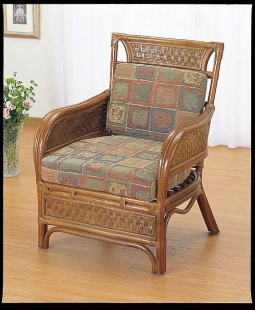 格調高いアンティーク調仕上げ アームチェアー イス・チェア 座椅子 籐製 送料無料