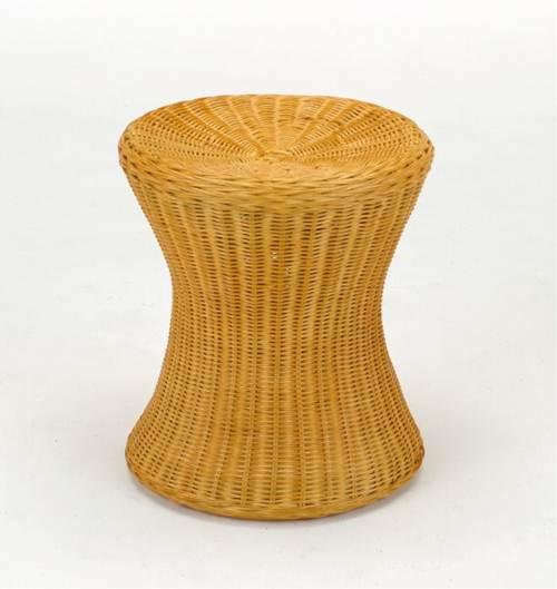 籐芯を編み込んで作られた美しいフレーム スツール イス・チェア 座椅子 籐製