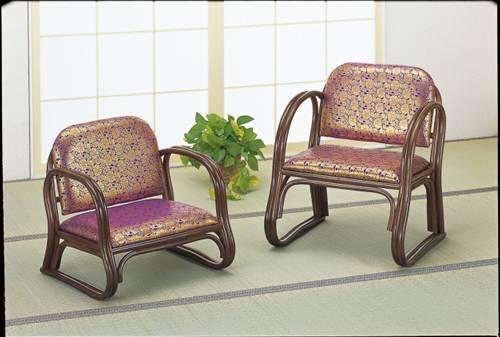 仏間が引き立つ、高級金襴生地仕立ての籐座椅子 籐金襴思いやり座椅子 ロータイプ イス・チェア 籐製 送料無料