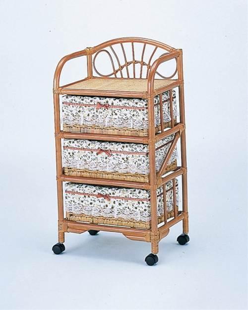 部屋を選ばない、シンプルなデザイン ランドリー3段 収納家具 ランドリーチェスト ランドリーラック 籐製 ラタン