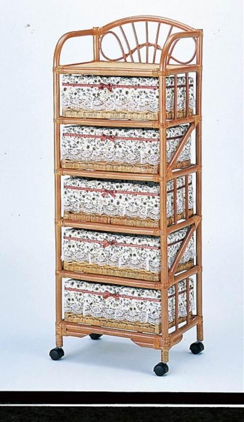 部屋を選ばない、シンプルなデザイン ランドリー5段 収納家具 ランドリーチェスト ランドリーラック 籐製 ラタン 送料無料