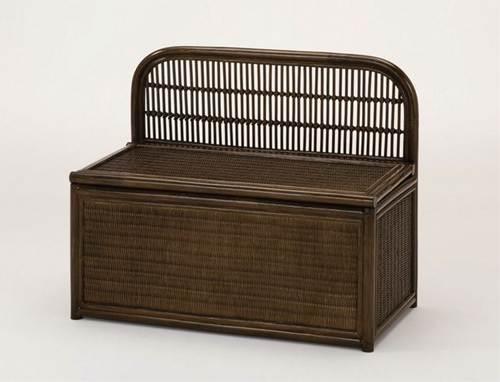 座面を持ち上げれば、中はたっぷりの収納スペース ベンチボックス イス・チェア 座椅子 籐製 送料無料