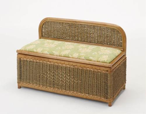 天然素材の籐とシーグラス(水草)で、編み込まれたナチュラルでシンプルなベンチボックスです。 ベンチボックス イス・チェア 座椅子 籐製 送料無料