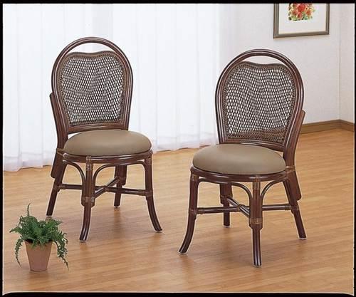 籐ダイニングチェアー2脚組 イス・チェア 座椅子 籐製 送料無料