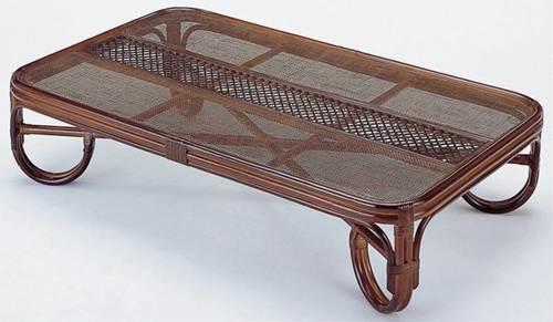 籐の座卓と座椅子で、リビングを涼しく演出。 座卓150cm テーブル 座卓 リビングテーブル ガラス天板 籐製 ラタン 送料無料