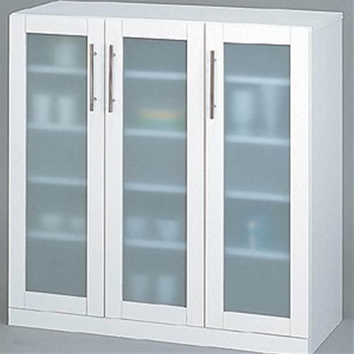 【送料無料】 高さ90cmのロータイプ食器棚 ホワイトカラーの食器棚 コンパクトタイプの食器棚【代引不可】 収納家具 キッチン収納 食器棚・キッチンボード 送料無料