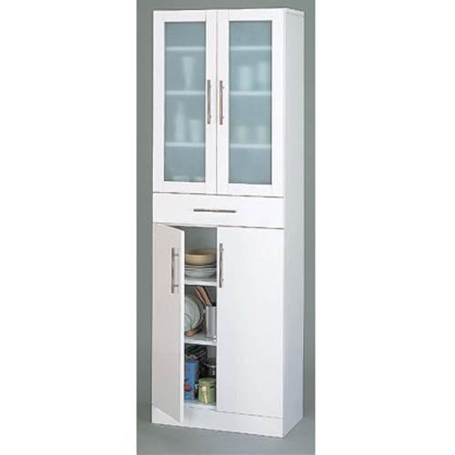 【送料無料】 高さ180cmの食器棚 ホワイトカラーの食器棚 幅60cmの食器棚【代引不可】 収納家具 キッチン収納 食器棚・キッチンボード 送料無料