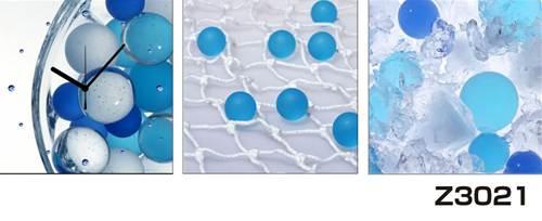 日本初!300種類以上のデザインから選ぶパネルクロック◆3枚のアートパネルの壁掛け時計◆hOur DesignZ3021ブルー クール 氷【アート】【代引不可】 送料無料