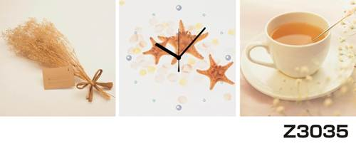 日本初!300種類以上のデザインから選ぶパネルクロック◆3枚のアートパネルの壁掛け時計◆hOur DesignZ3035茶 カップ【フード】【アート】【代引不可】 送料無料
