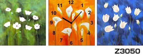 日本初!300種類以上のデザインから選ぶパネルクロック◆3枚のアートパネルの壁掛け時計◆hOur DesignZ3050【アート】【花】【代引不可】 送料無料