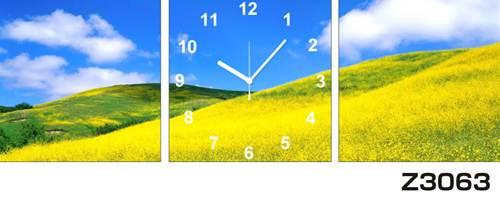 日本初!300種類以上のデザインから選ぶパネルクロック◆3枚のアートパネルの壁掛け時計◆hOur DesignZ3063菜の花 花畑【花】【風景】【海・空】【自然】【代引不可】 送料無料