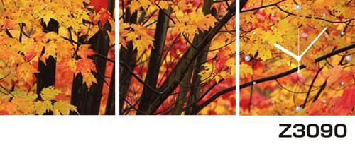 日本初!300種類以上のデザインから選ぶパネルクロック◆3枚のアートパネルの壁掛け時計◆hOur DesignZ3090紅葉【風景】【自然】【代引不可】 送料無料