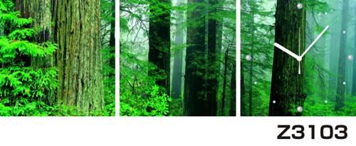日本初!300種類以上のデザインから選ぶパネルクロック◆3枚のアートパネルの壁掛け時計◆hOur DesignZ3103森林【自然】【代引不可】 送料無料