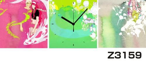日本初!300種類以上のデザインから選ぶパネルクロック◆3枚のアートパネルの壁掛け時計◆hOur DesignZ3159女性【イラスト】【代引不可】 送料無料