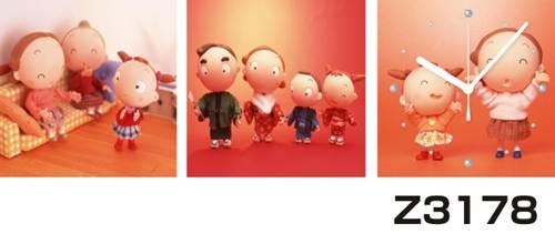 日本初!300種類以上のデザインから選ぶパネルクロック◆3枚のアートパネルの壁掛け時計◆hOur DesignZ3178家族【イラスト】【代引不可】 送料無料