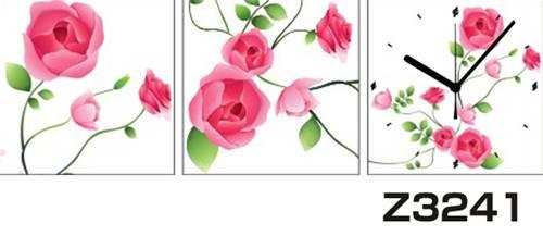 日本初!300種類以上のデザインから選ぶパネルクロック◆3枚のアートパネルの壁掛け時計◆hOur DesignZ3241薔薇【イラスト】【アート】【花】【代引不可】 送料無料