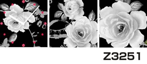 日本初!300種類以上のデザインから選ぶパネルクロック◆3枚のアートパネルの壁掛け時計◆hOur DesignZ3251モノクローム 薔薇【アート】【花】【代引不可】 送料無料