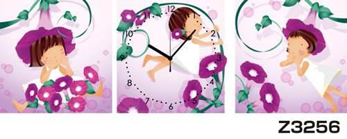 日本初!300種類以上のデザインから選ぶパネルクロック◆3枚のアートパネルの壁掛け時計◆hOur DesignZ3256女の子【イラスト】【花】【代引不可】 送料無料
