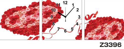 日本初!300種類以上のデザインから選ぶパネルクロック◆3枚のアートパネルの壁掛け時計◆hOur DesignZ3396薔薇【アート】【花】【代引不可】 送料無料